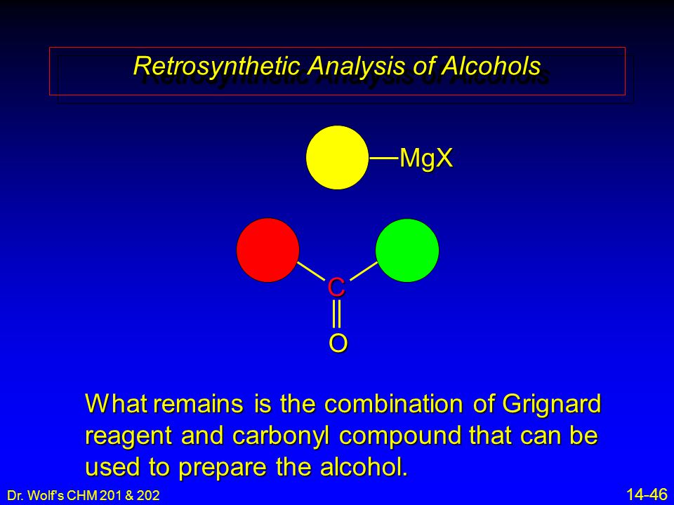 Dr. Wolf's CHM 201 & 202 14-46 Retrosynthetic Analysis of Alcohols C O What remains is the combination of Grignard reagent and carbonyl compound that
