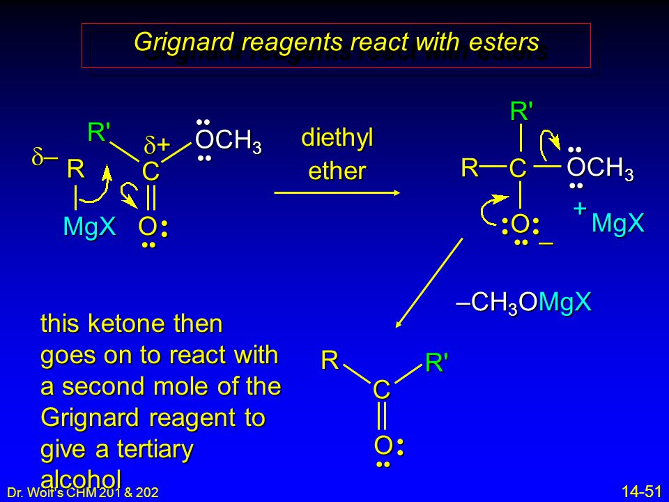Dr. Wolf's CHM 201 & 202 14-51 Grignard reagents react with esters RMgX C O – MgX + –––– ++++ R C O diethyl ether OCH 3 R' R' –CH 3 OMgX C ORR