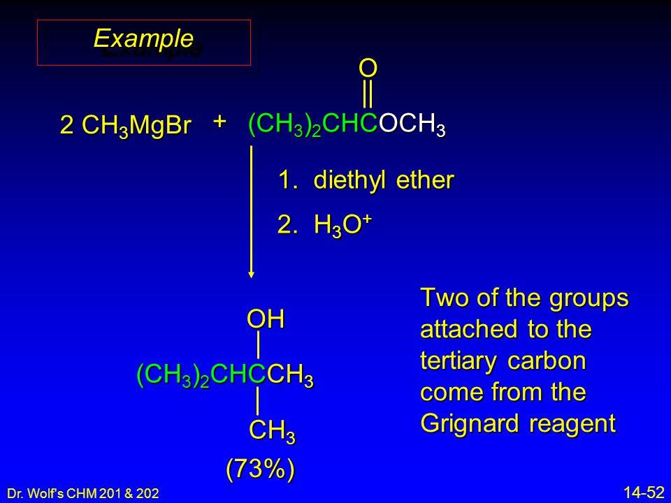 Dr. Wolf s CHM 201 & 202 14-52 ExampleExample 2 CH 3 MgBr + (CH 3 ) 2 CHCOCH 3 O 1.