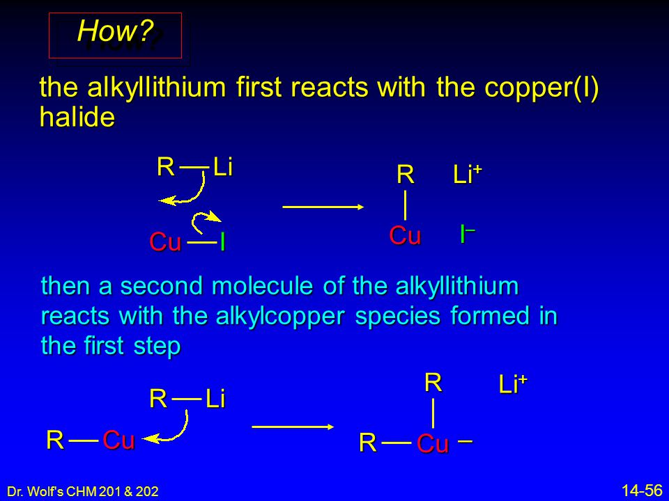 Dr. Wolf's CHM 201 & 202 14-56 the alkyllithium first reacts with the copper(I) halide then a second molecule of the alkyllithium reacts with the alky
