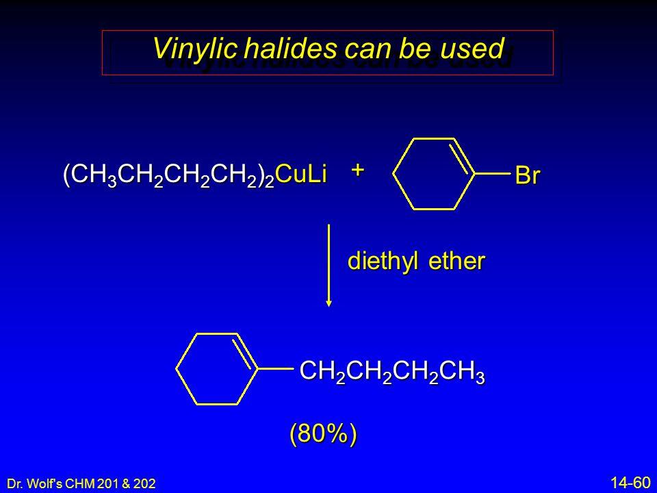 Dr. Wolf's CHM 201 & 202 14-60 (CH 3 CH 2 CH 2 CH 2 ) 2 CuLi Vinylic halides can be used + diethyl ether Br CH 2 CH 2 CH 2 CH 3 (80%)