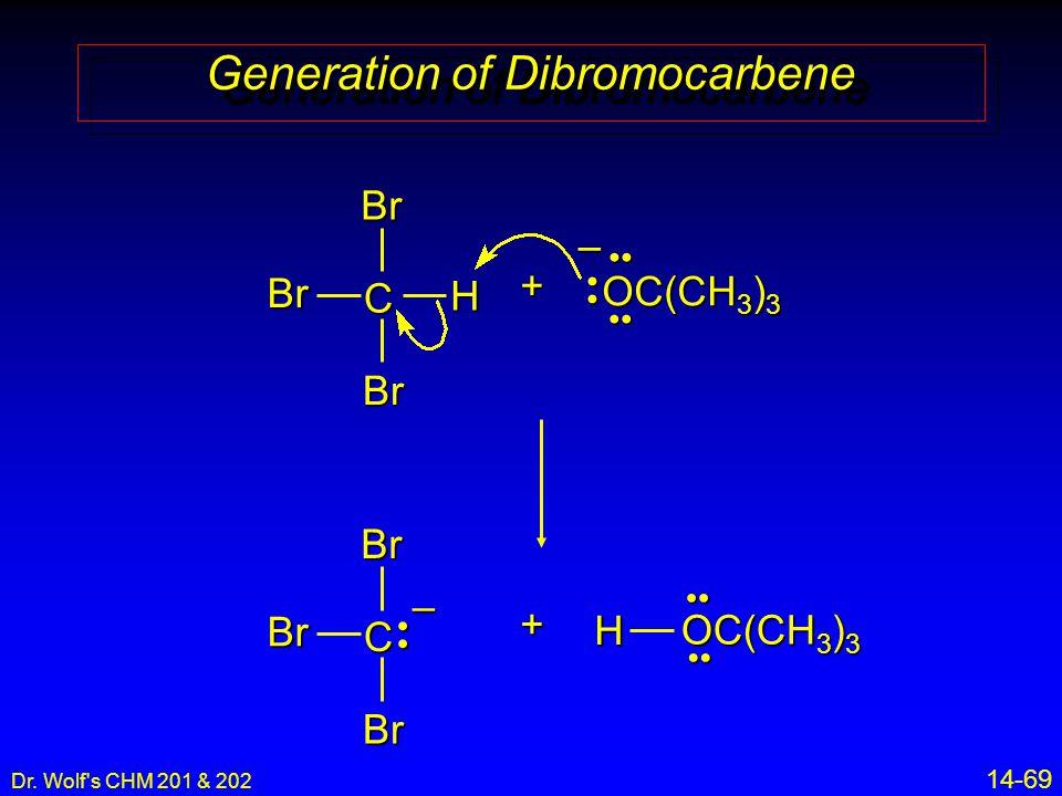 Dr. Wolf's CHM 201 & 202 14-69 Generation of Dibromocarbene C Br Br Br H + OC(CH 3 ) 3 – H+ C Br BrBr–