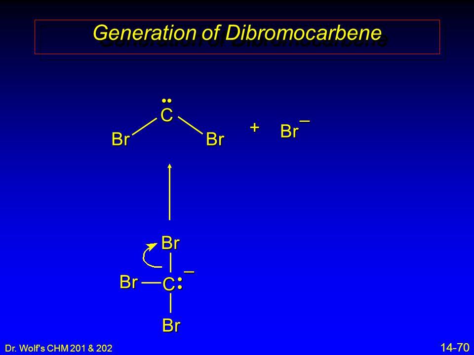 Dr. Wolf s CHM 201 & 202 14-70 Generation of Dibromocarbene + C Br BrBr– C BrBr Br–