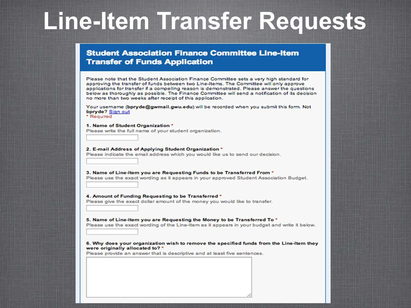 Line-Item Transfer Requests
