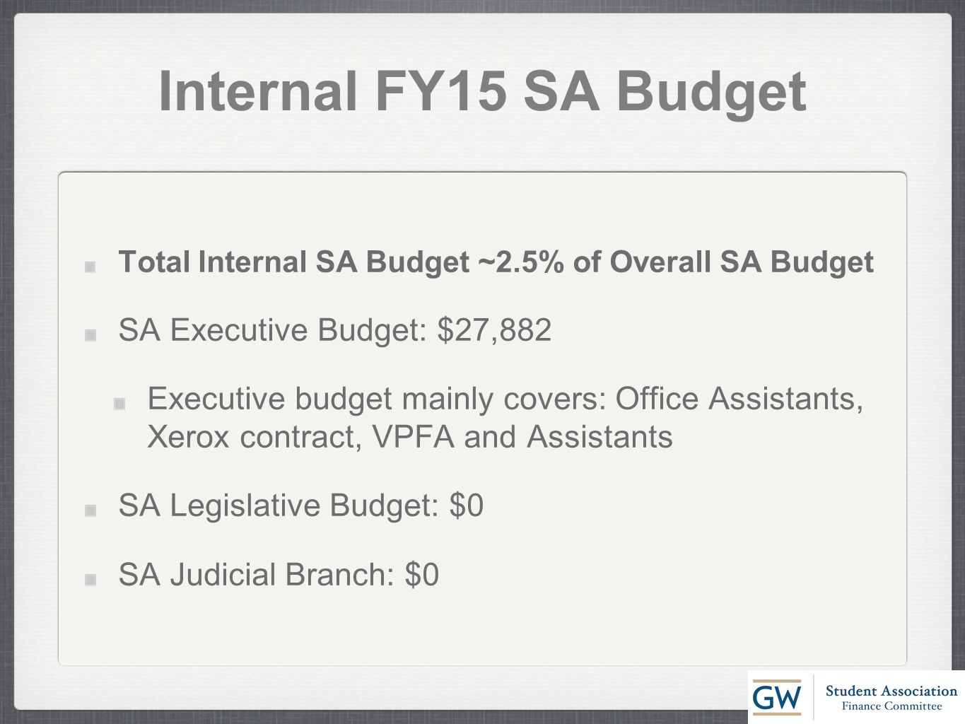 Internal FY15 SA Budget Total Internal SA Budget ~2.5% of Overall SA Budget SA Executive Budget: $27,882 Executive budget mainly covers: Office Assistants, Xerox contract, VPFA and Assistants SA Legislative Budget: $0 SA Judicial Branch: $0