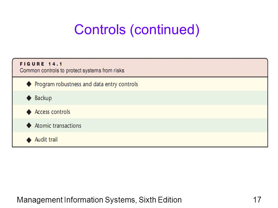 Management Information Systems, Sixth Edition17 Controls (continued)