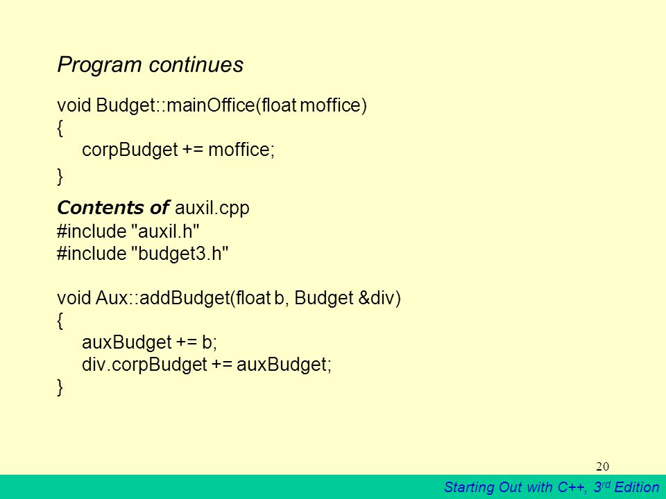 Starting Out with C++, 3 rd Edition 20 Program continues void Budget::mainOffice(float moffice) { corpBudget += moffice; } Contents of auxil.cpp #include auxil.h #include budget3.h void Aux::addBudget(float b, Budget &div) { auxBudget += b; div.corpBudget += auxBudget; }