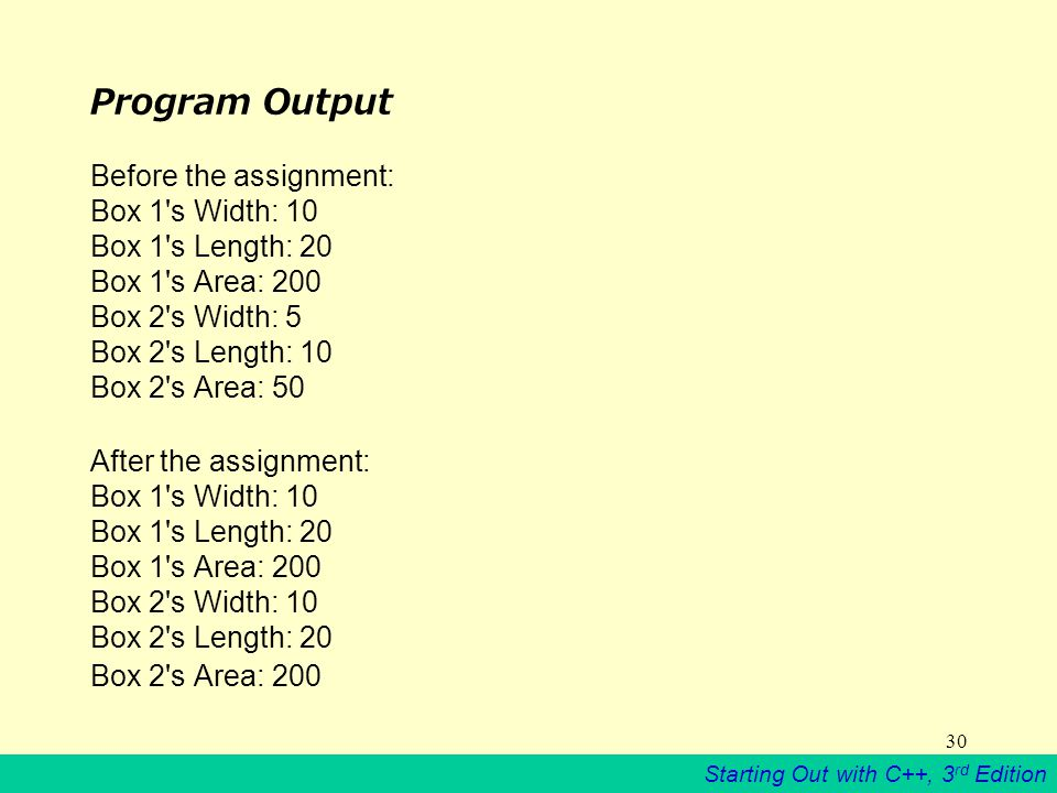 Starting Out with C++, 3 rd Edition 30 Program Output Before the assignment: Box 1 s Width: 10 Box 1 s Length: 20 Box 1 s Area: 200 Box 2 s Width: 5 Box 2 s Length: 10 Box 2 s Area: 50 After the assignment: Box 1 s Width: 10 Box 1 s Length: 20 Box 1 s Area: 200 Box 2 s Width: 10 Box 2 s Length: 20 Box 2 s Area: 200