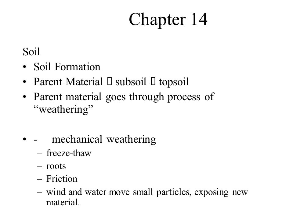 Chapter 14 -chemical weathering –oxidation –hydrolysis –acid content -primary succession –Lichens –increase humus content (and lowers pH) –Enhance chemical/physical weathering