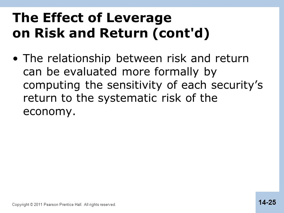 Copyright © 2011 Pearson Prentice Hall. All rights reserved. 14-25 The Effect of Leverage on Risk and Return (cont'd) The relationship between risk an