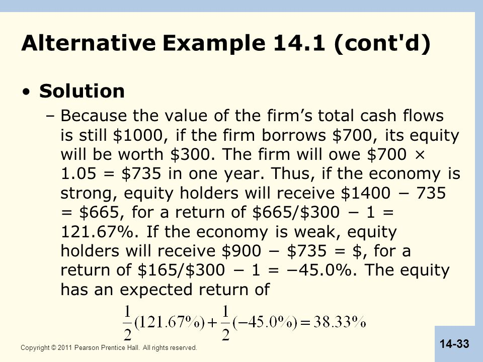 Copyright © 2011 Pearson Prentice Hall. All rights reserved. 14-33 Alternative Example 14.1 (cont'd) Solution –Because the value of the firm's total c
