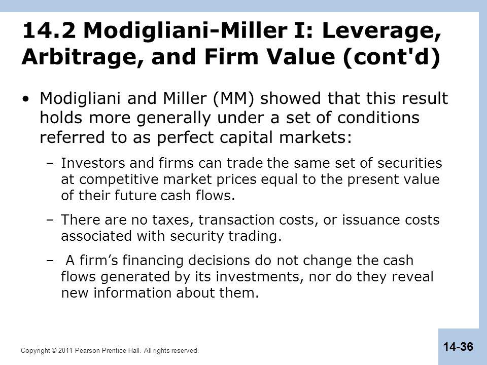Copyright © 2011 Pearson Prentice Hall. All rights reserved. 14-36 14.2 Modigliani-Miller I: Leverage, Arbitrage, and Firm Value (cont'd) Modigliani a