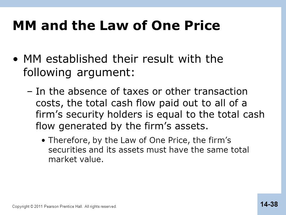 Copyright © 2011 Pearson Prentice Hall. All rights reserved. 14-38 MM and the Law of One Price MM established their result with the following argument