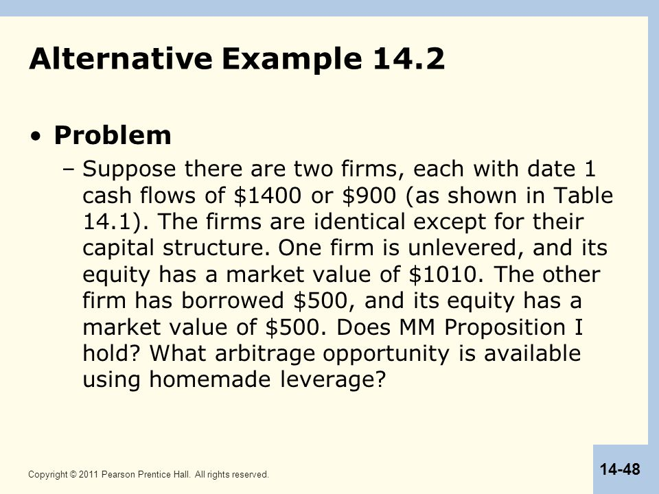 Copyright © 2011 Pearson Prentice Hall. All rights reserved. 14-48 Alternative Example 14.2 Problem –Suppose there are two firms, each with date 1 cas
