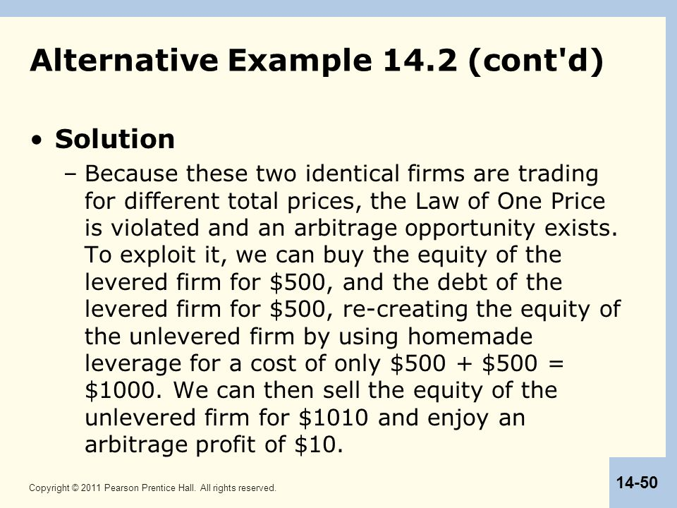 Copyright © 2011 Pearson Prentice Hall. All rights reserved. 14-50 Alternative Example 14.2 (cont'd) Solution –Because these two identical firms are t