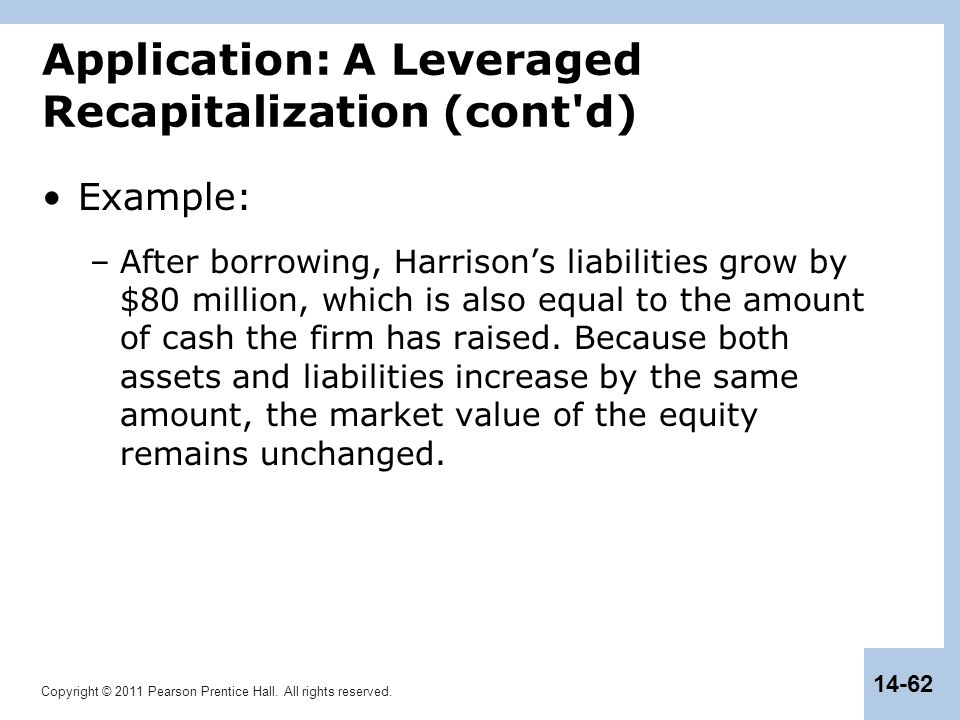 Copyright © 2011 Pearson Prentice Hall. All rights reserved. 14-62 Application: A Leveraged Recapitalization (cont'd) Example: –After borrowing, Harri