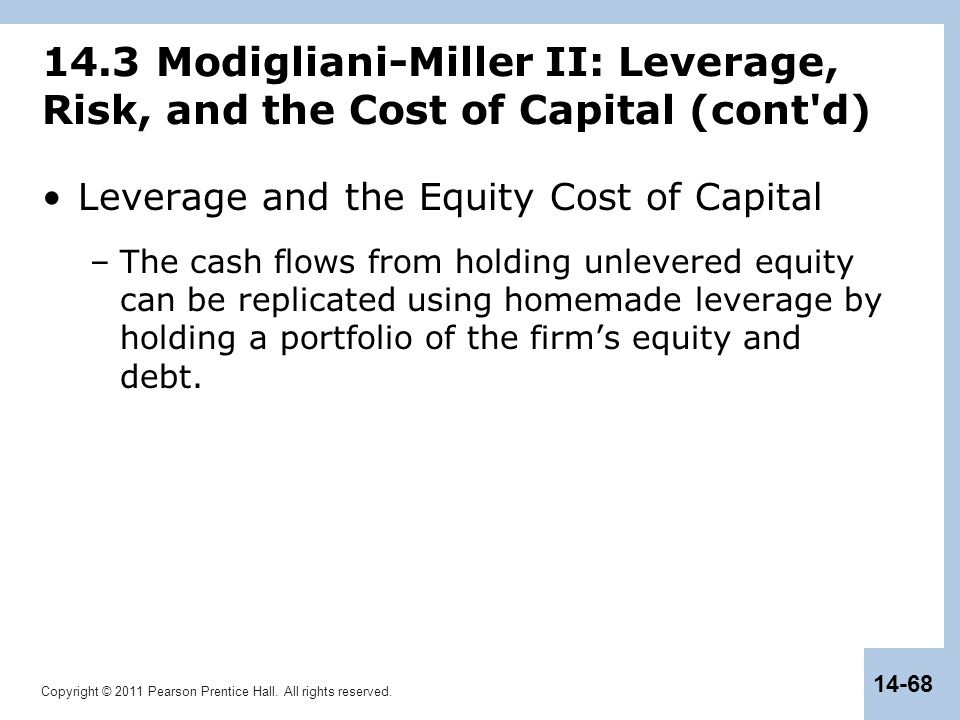 Copyright © 2011 Pearson Prentice Hall. All rights reserved. 14-68 14.3 Modigliani-Miller II: Leverage, Risk, and the Cost of Capital (cont'd) Leverag