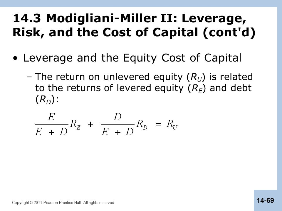 Copyright © 2011 Pearson Prentice Hall. All rights reserved. 14-69 14.3 Modigliani-Miller II: Leverage, Risk, and the Cost of Capital (cont'd) Leverag