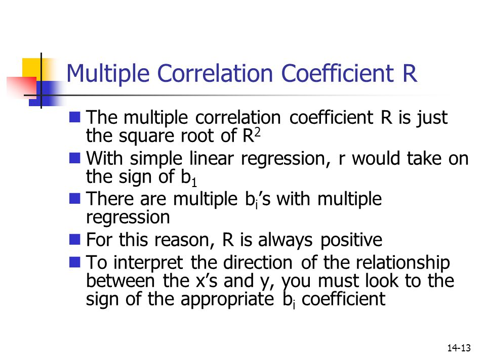 14-13 Multiple Correlation Coefficient R The multiple correlation coefficient R is just the square root of R 2 With simple linear regression, r would
