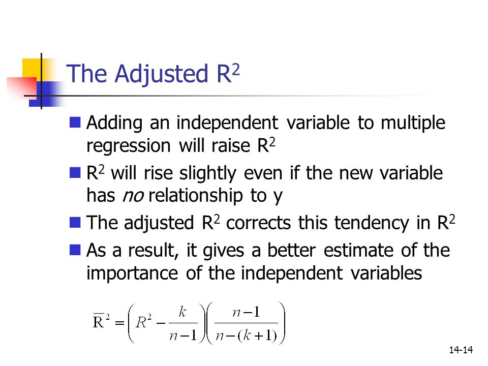 14-14 The Adjusted R 2 Adding an independent variable to multiple regression will raise R 2 R 2 will rise slightly even if the new variable has no rel