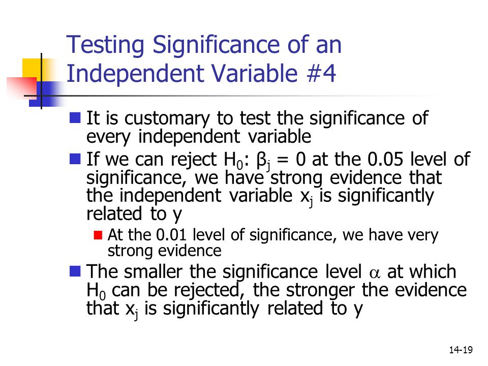 14-19 Testing Significance of an Independent Variable #4 It is customary to test the significance of every independent variable If we can reject H 0 :