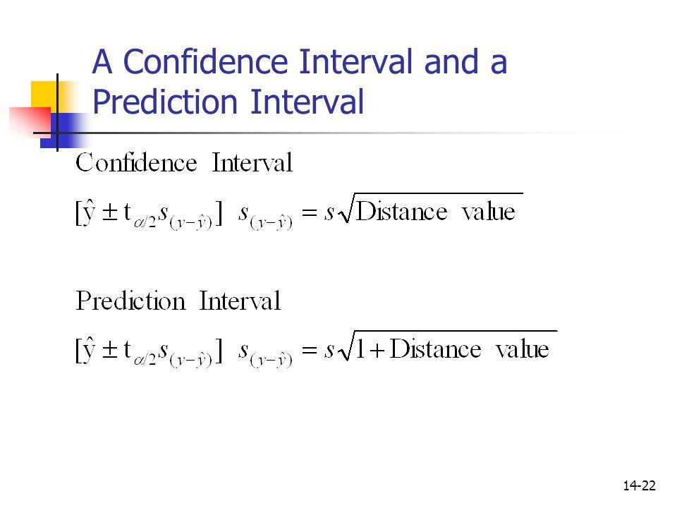 14-22 A Confidence Interval and a Prediction Interval