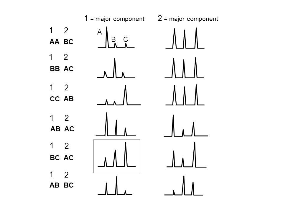 AA BC AB BC BC AC AB AC CC AB BB AC 2 = major component 1 = major component 1 2 1 2 1 2 1 2 1 2 1 2 A BC