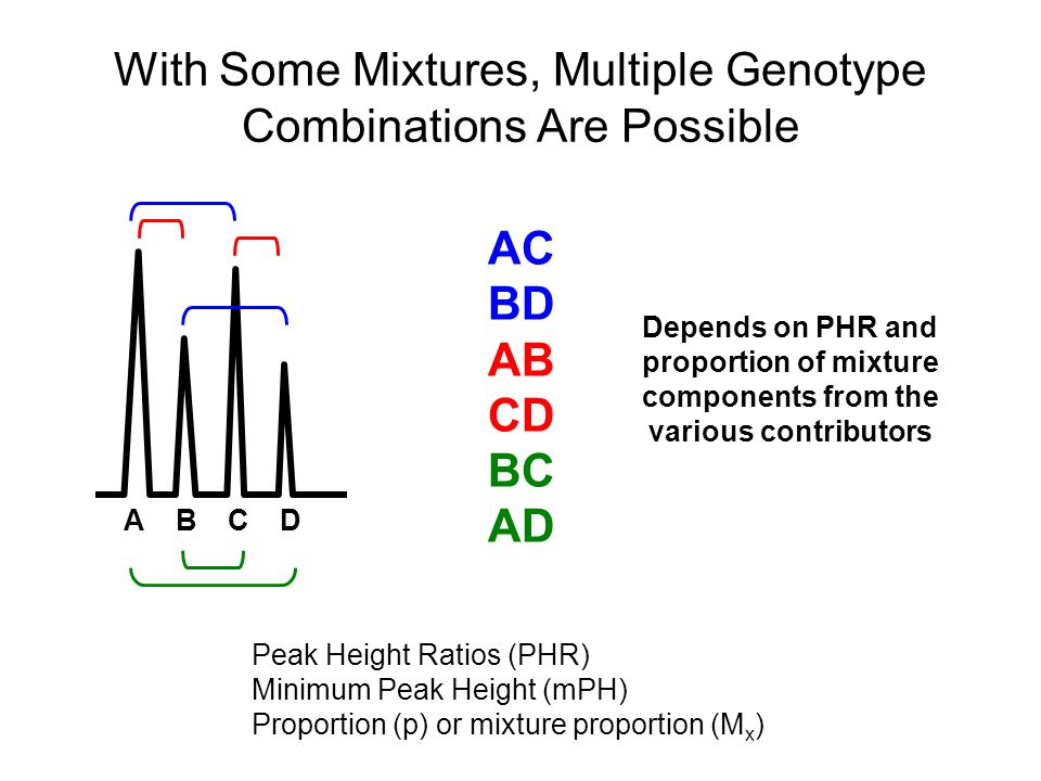 With Some Mixtures, Multiple Genotype Combinations Are Possible ABCD AC BD AB CD BC AD Peak Height Ratios (PHR) Minimum Peak Height (mPH) Proportion (p) or mixture proportion (M x ) Depends on PHR and proportion of mixture components from the various contributors