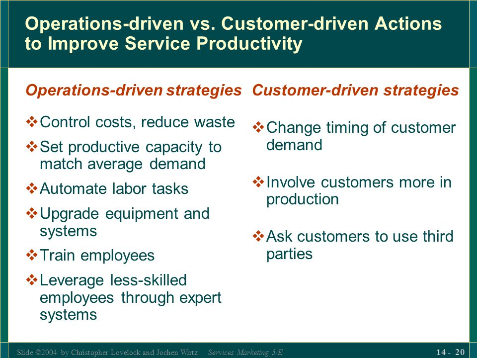 Slide ©2004 by Christopher Lovelock and Jochen Wirtz Services Marketing 5/E 14 - 20 Operations-driven vs.