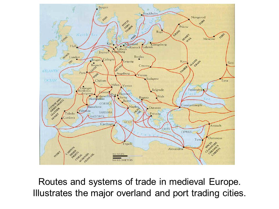 Routes and systems of trade in medieval Europe. Illustrates the major overland and port trading cities.