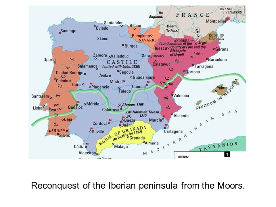 Reconquest of the Iberian peninsula from the Moors.