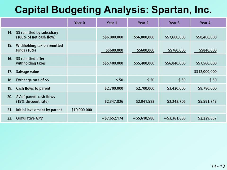 14 - 13 Capital Budgeting Analysis: Spartan, Inc.