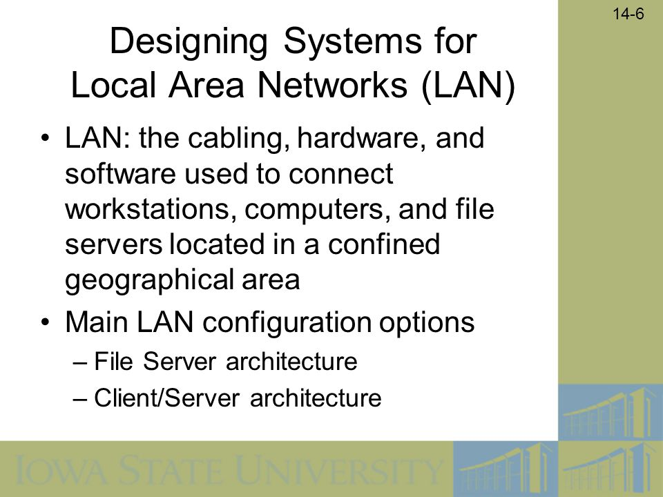 14-6 Designing Systems for Local Area Networks (LAN) LAN: the cabling, hardware, and software used to connect workstations, computers, and file server