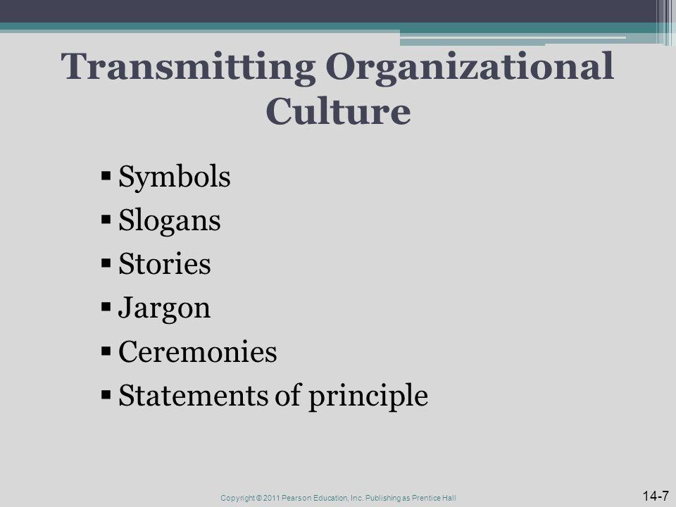 Transmitting Organizational Culture  Symbols  Slogans  Stories  Jargon  Ceremonies  Statements of principle 14-7 Copyright © 2011 Pearson Education, Inc.