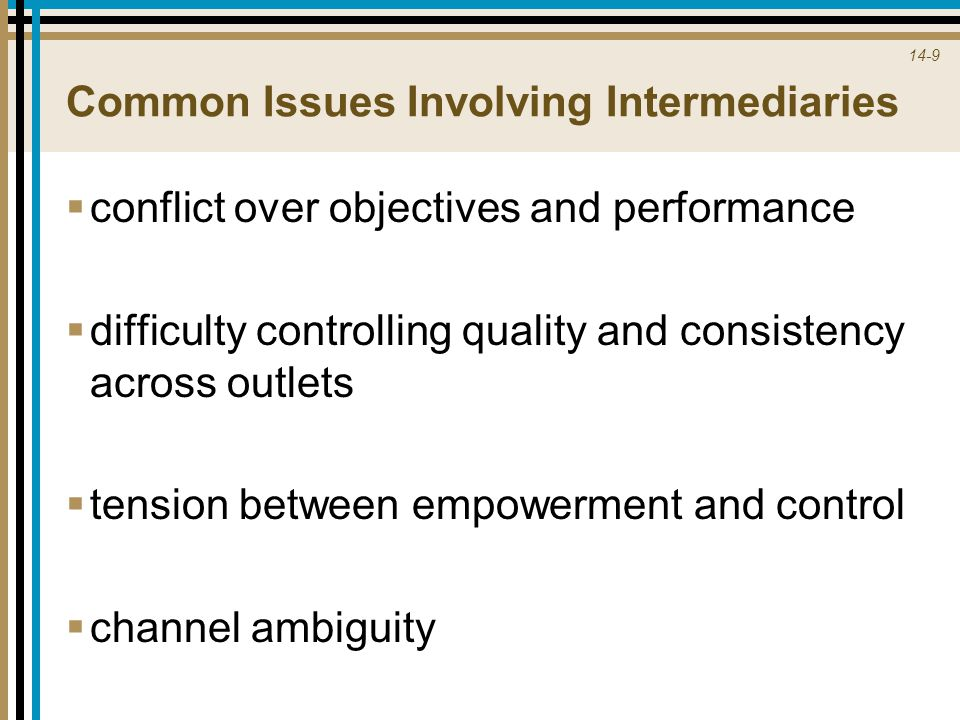 14-9 Common Issues Involving Intermediaries  conflict over objectives and performance  difficulty controlling quality and consistency across outlets  tension between empowerment and control  channel ambiguity