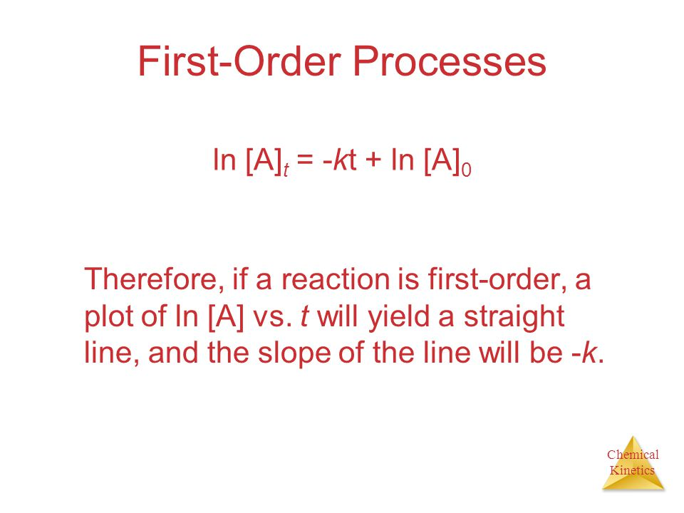 Chemical Kinetics First-Order Processes Therefore, if a reaction is first-order, a plot of ln [A] vs. t will yield a straight line, and the slope of t