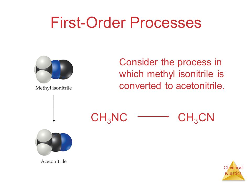 Chemical Kinetics First-Order Processes Consider the process in which methyl isonitrile is converted to acetonitrile. CH 3 NCCH 3 CN