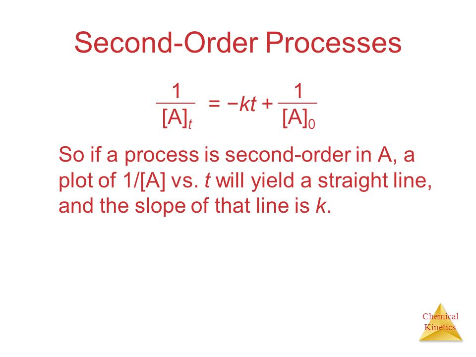 Chemical Kinetics Second-Order Processes So if a process is second-order in A, a plot of 1/[A] vs. t will yield a straight line, and the slope of that