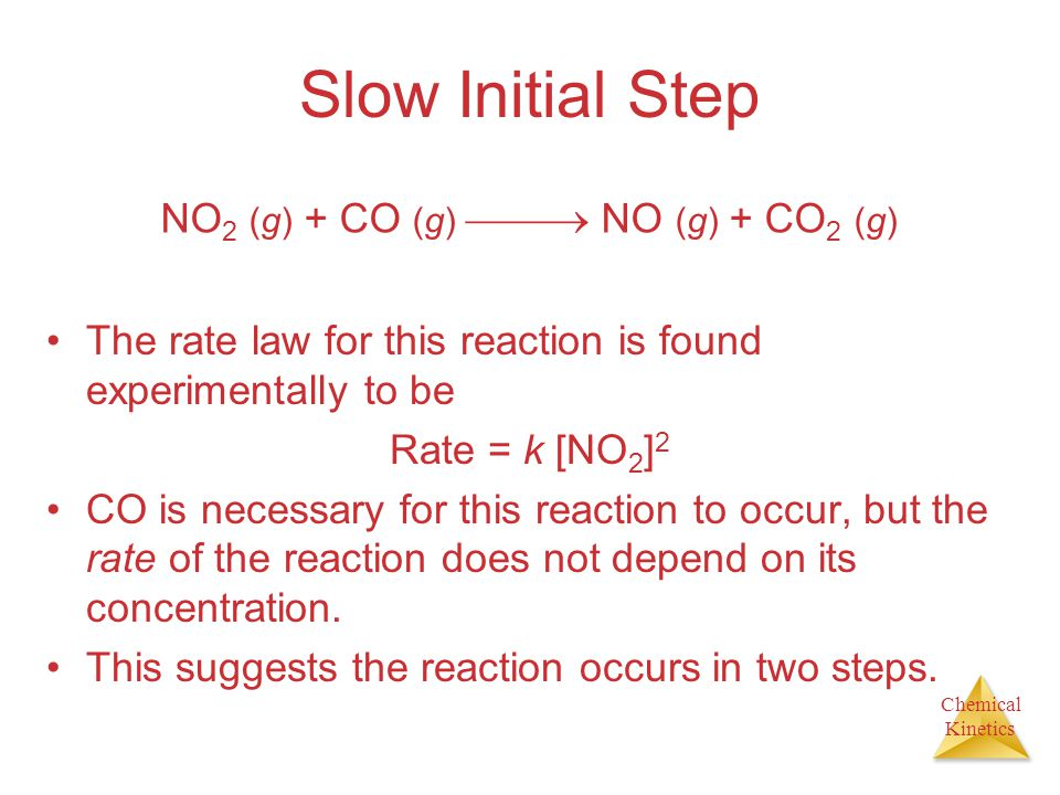 Chemical Kinetics Slow Initial Step The rate law for this reaction is found experimentally to be Rate = k [NO 2 ] 2 CO is necessary for this reaction