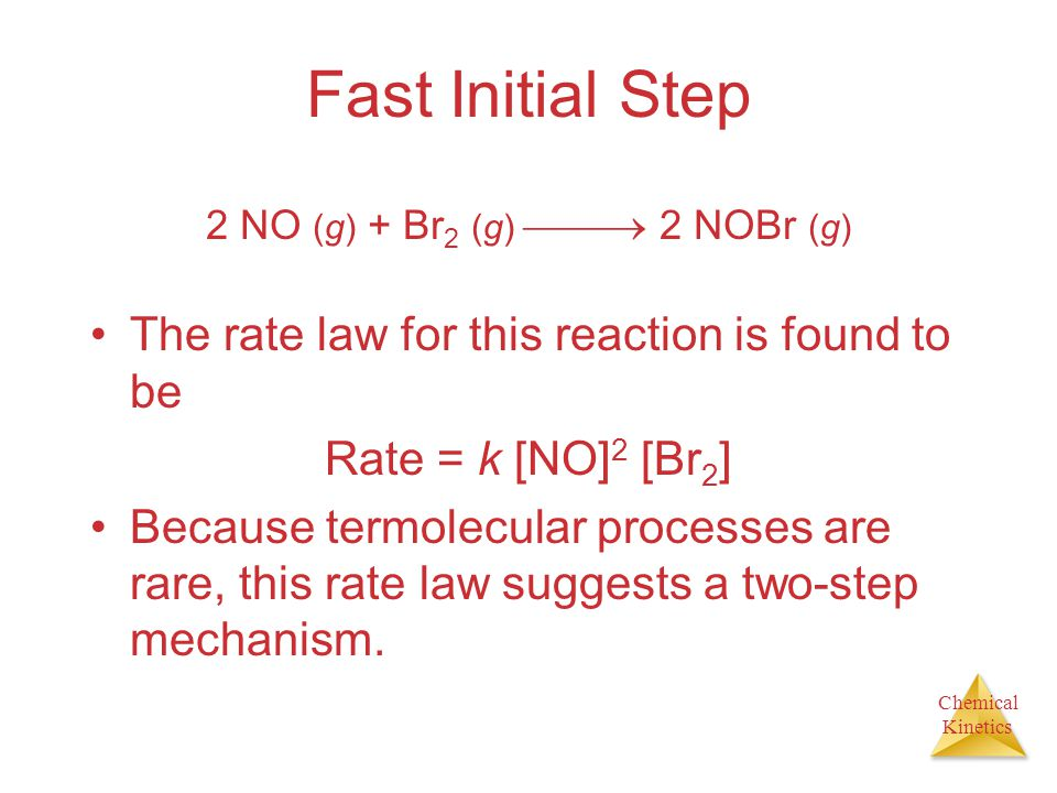 Chemical Kinetics Fast Initial Step The rate law for this reaction is found to be Rate = k [NO] 2 [Br 2 ] Because termolecular processes are rare, thi