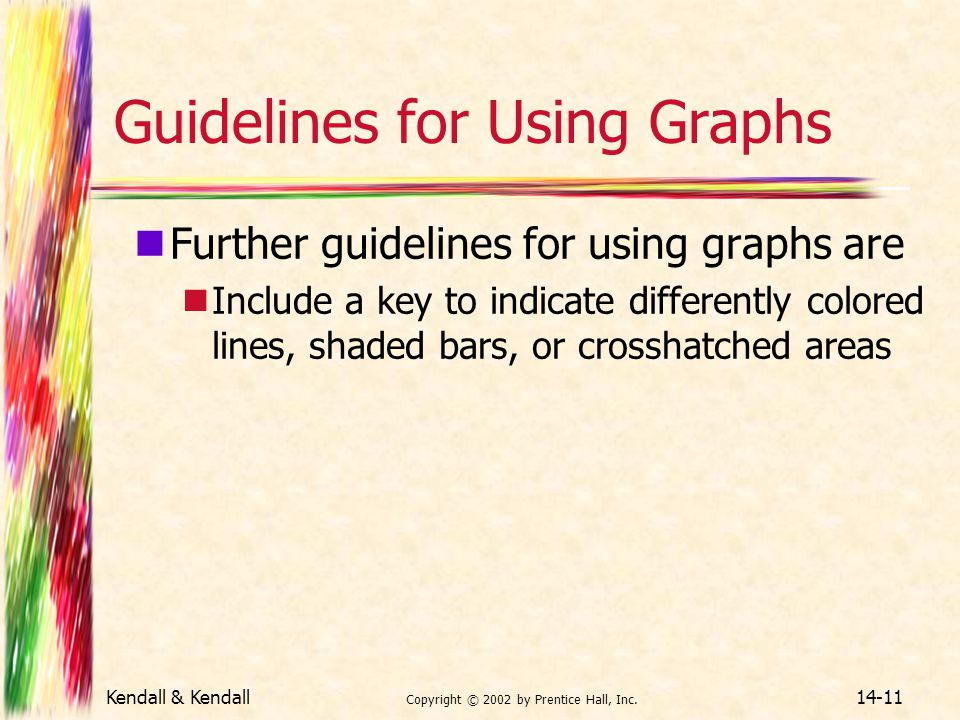 Kendall & Kendall Copyright © 2002 by Prentice Hall, Inc. 14-11 Guidelines for Using Graphs Further guidelines for using graphs are Include a key to i