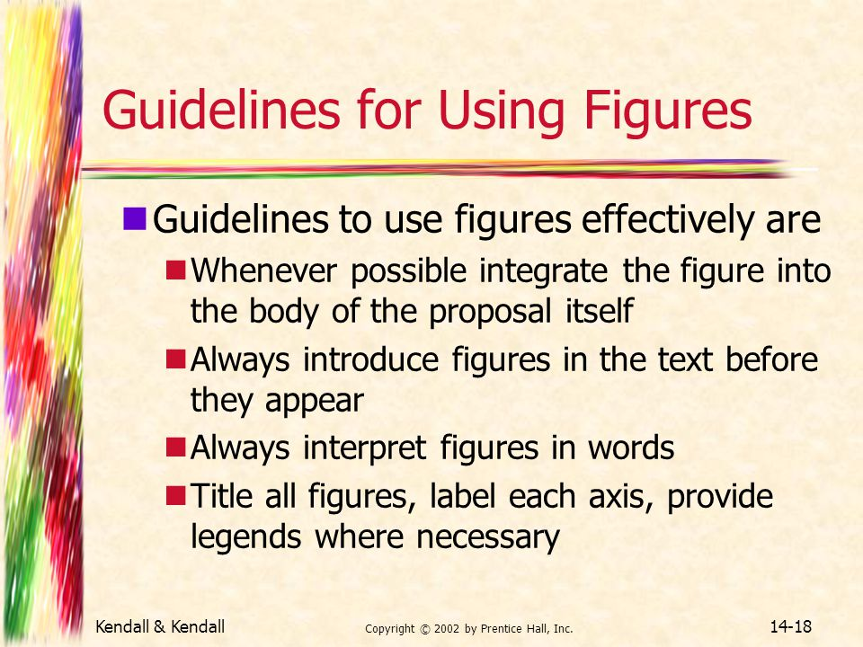 Kendall & Kendall Copyright © 2002 by Prentice Hall, Inc. 14-18 Guidelines for Using Figures Guidelines to use figures effectively are Whenever possib