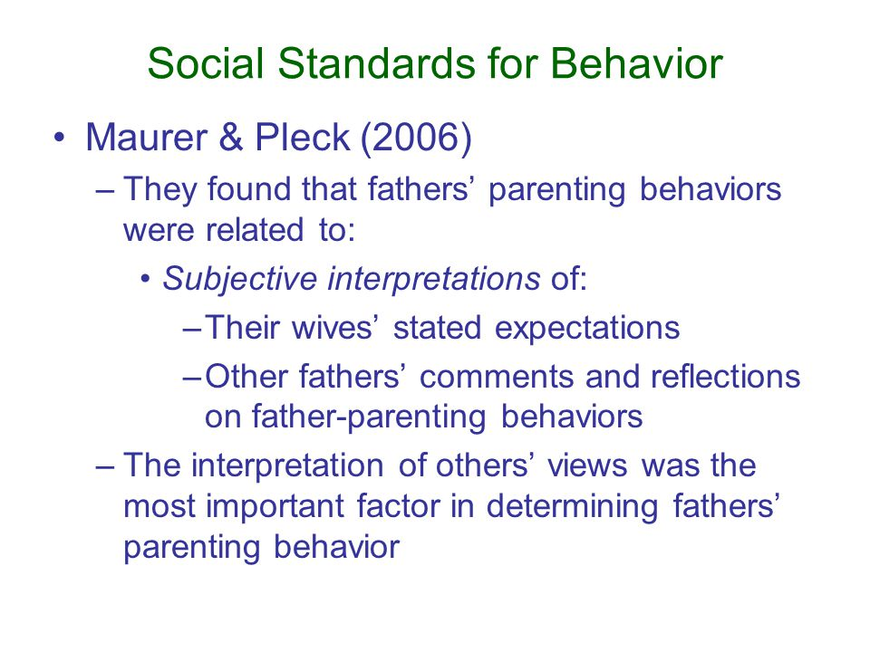 Social Standards for Behavior Maurer & Pleck (2006) –They found that fathers' parenting behaviors were related to: Subjective interpretations of: –Their wives' stated expectations –Other fathers' comments and reflections on father-parenting behaviors –The interpretation of others' views was the most important factor in determining fathers' parenting behavior
