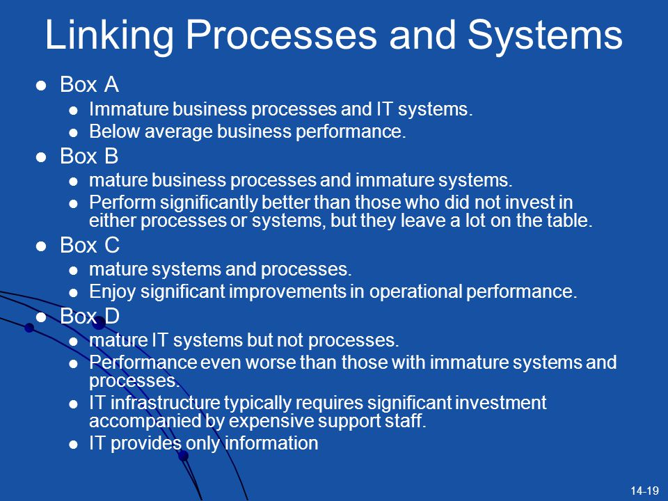 14-19 Linking Processes and Systems Box A Immature business processes and IT systems. Below average business performance. Box B mature business proces