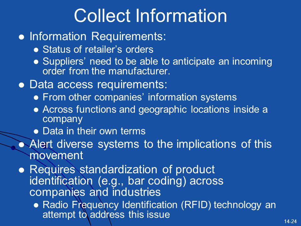 14-24 Collect Information Information Requirements: Status of retailer's orders Suppliers' need to be able to anticipate an incoming order from the ma