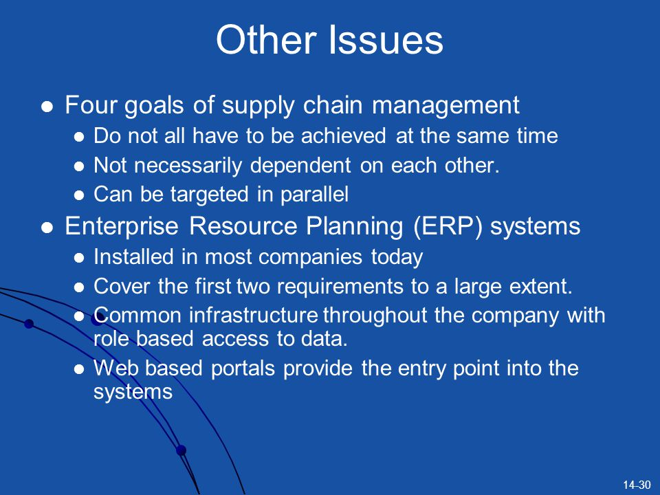 14-30 Other Issues Four goals of supply chain management Do not all have to be achieved at the same time Not necessarily dependent on each other. Can