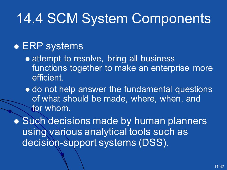 14-32 14.4 SCM System Components ERP systems attempt to resolve, bring all business functions together to make an enterprise more efficient. do not he