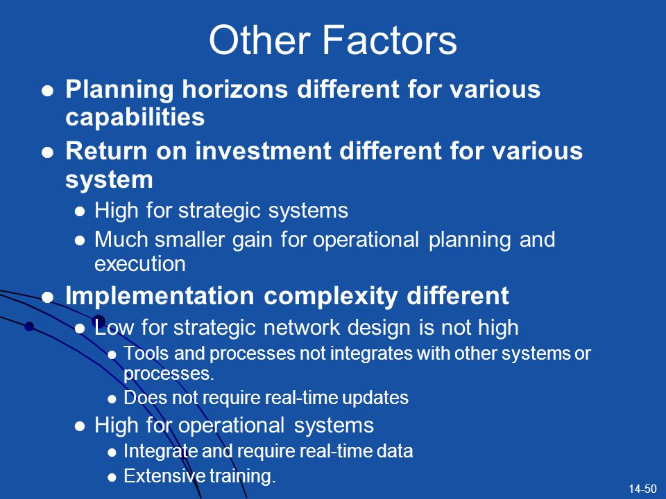 14-50 Other Factors Planning horizons different for various capabilities Return on investment different for various system High for strategic systems