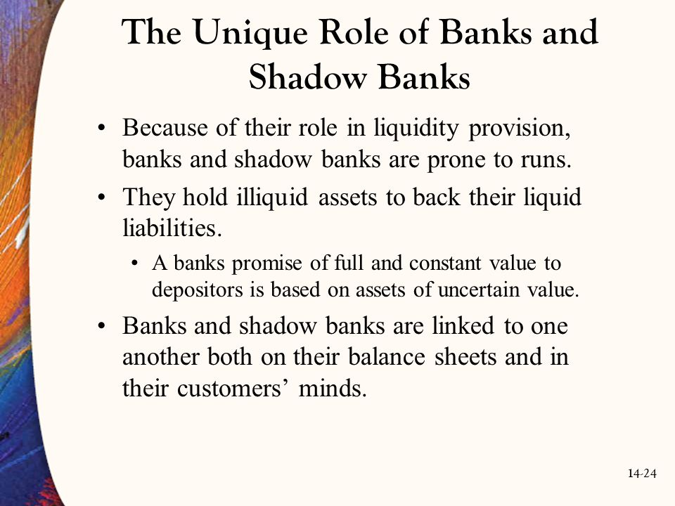 14-24 The Unique Role of Banks and Shadow Banks Because of their role in liquidity provision, banks and shadow banks are prone to runs. They hold illi