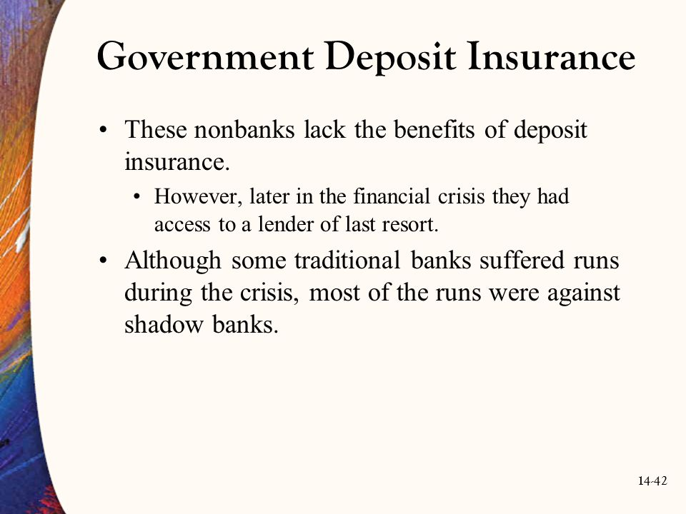 14-42 Government Deposit Insurance These nonbanks lack the benefits of deposit insurance. However, later in the financial crisis they had access to a